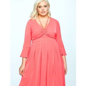 Eloquii Paradise Pink Coral Flare Sleeve Dress